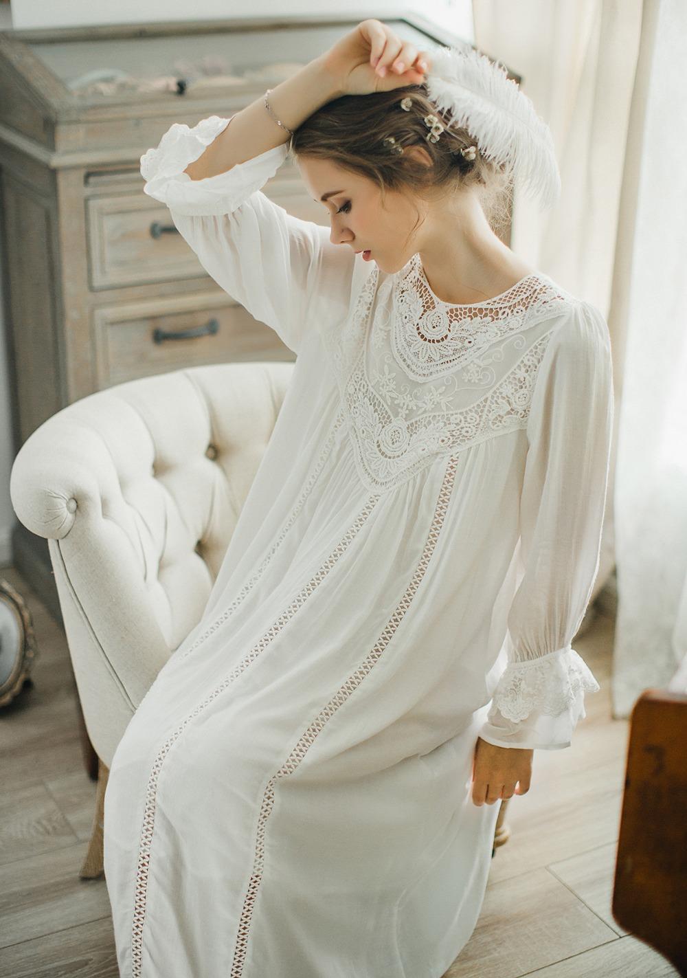 1e32efbd786 Осень 2017 г. хлопковая ночная рубашка для женщин с длинными рукавами  принцесса Кнопка Ночная рубашка-кардиган дворец элегантный снаUSD  32.93 piece. 5 6 7 8