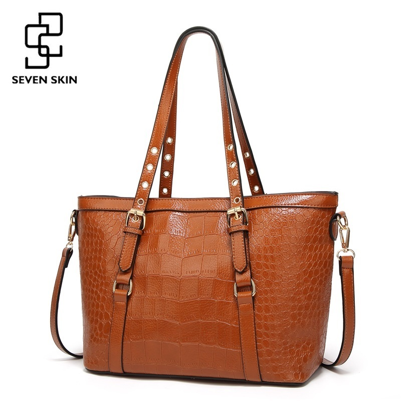 SEVEN SKIN Quality Leather Tote Bags Women Large Capacity Shoulder Bag for Female Solid Crocodile Pattern Top-Handle Handbags top quality canvas pattern women tote bag