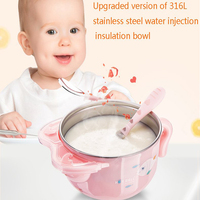 Dishes 6 pcs/set Children Cute Baby Feeding Bowl Water Injection Bowl Anti Scald Stainless Steel Dish Insulation Bowl For Kids
