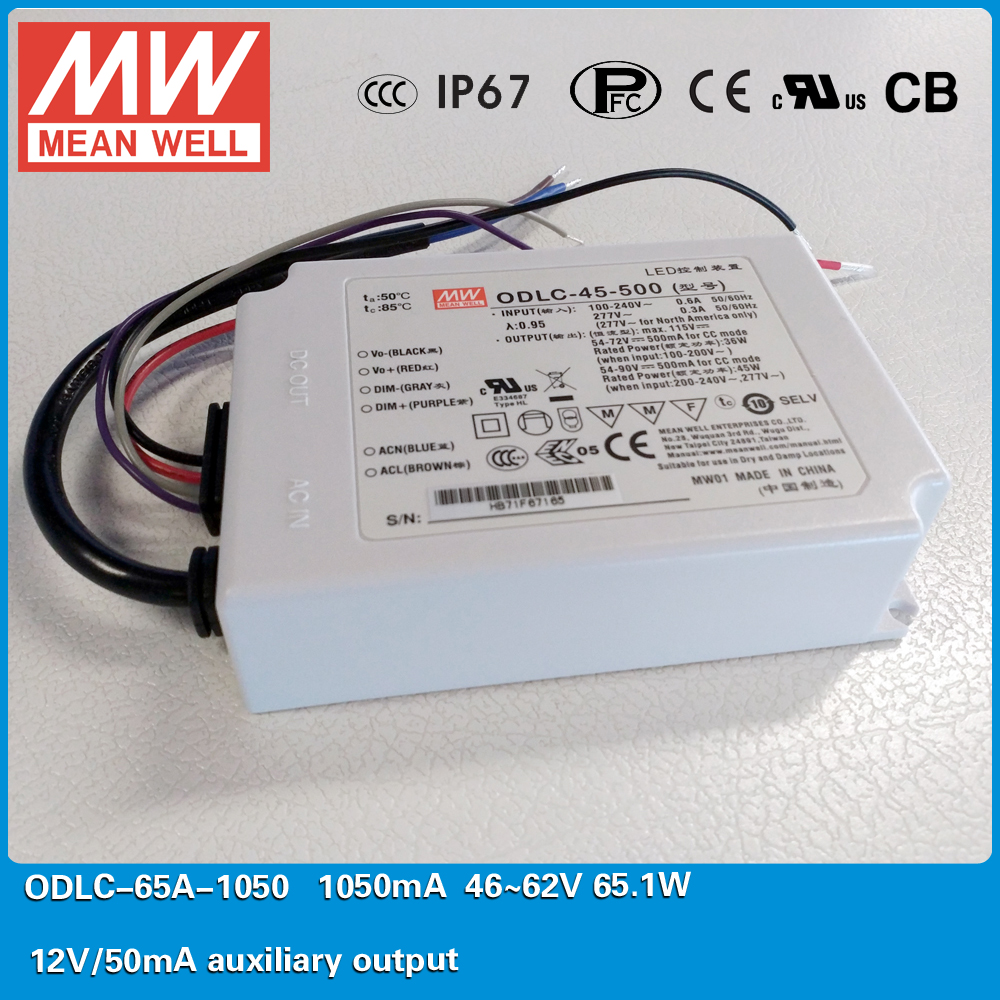 Original MEAN WELL Flicker free LED Power Supply ODLC-65A-1050 65W 1050mA 46~62V with 12V/50mA auxiliary output