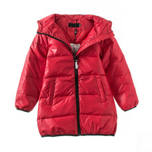 2019 New Winter Girls Long Down Coat. 4-8Y Red Casual Jacket  Tops