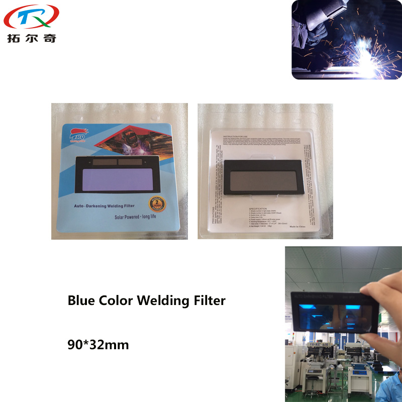 Blue Color Glass Automatic Darkening Tig Welding Filter Lens Lithium Battery Solar View Area 90*32mm Fast Shipping TRQ-1100