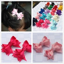 2pcs/lot kids children solid hair clip bobby pins barrette hairpins for girls hair accessories ribbon bows ornaments hairgrips