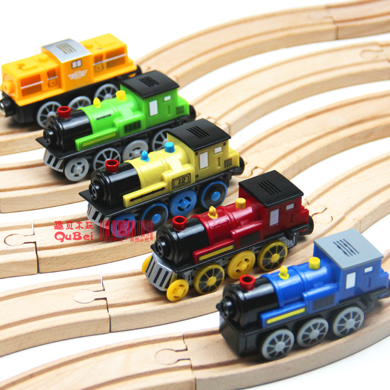 Magnetic electric locomotive may sound emitting small wooden train track set accessories 1pcs