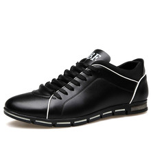 где купить 2019 Men Shoes Fashion Casual Shoes Men Leather Flats Breathable Lace Up Male Comfortable Shoes Plus Size 38-48 дешево