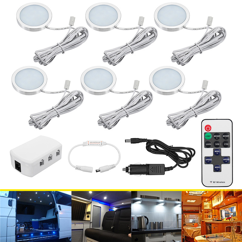 6Pcs Car interior led spot light with Dimmer 12V Interior Lights 6 IN 1 BOX Reading lamp for Automobile boat Truck 1pc car 12v 48led interior double dome ceiling light for rv boat for camper trailer truck boat led interior light