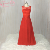 SuperKimJo Red Prom Dresses Made In China Lace Applique A Line Chiffon Evening Dresses For Pregnant