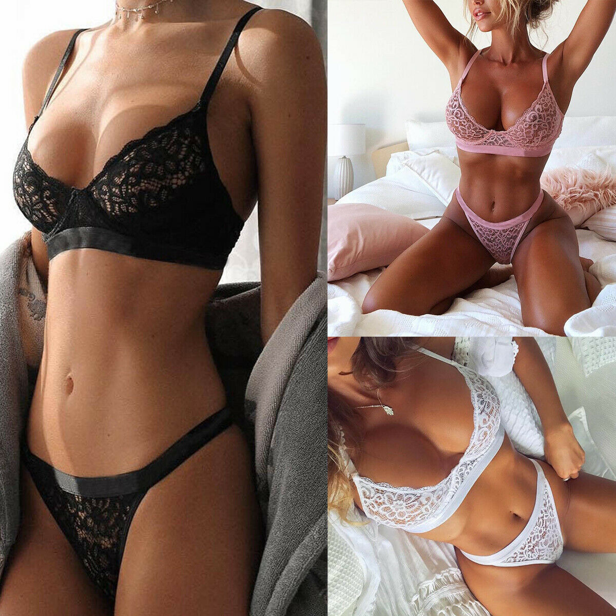 Hot <font><b>Sexy</b></font> <font><b>Women's</b></font> <font><b>Lace</b></font> Bandage <font><b>Lingerie</b></font> Solid Underwear G-string <font><b>Babydoll</b></font> Sleepwear Push-up Bra Set image