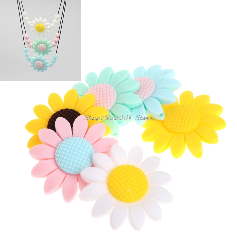 2017  Silicone Beads Pendant Baby Teether Sunflower DIY Necklace Decor Safety Teething  Gift   DEC11_30