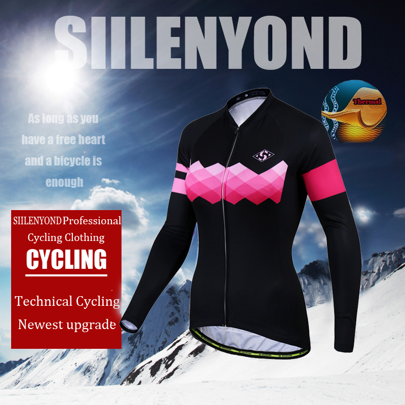 Siilenyond 2019 Pro Women Winter Thermal Cycling Jersey Long Sleeve Mountain Bike Cycling Clothing MTB Bicycle Cycling Clothes 2