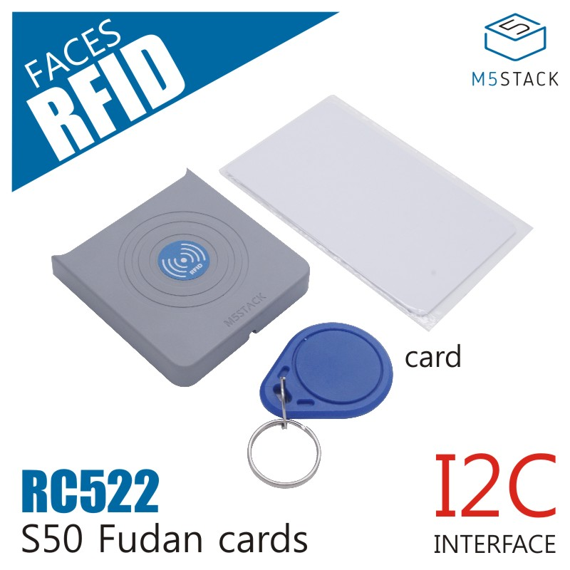 M5Stack NEW RFID RC522 Panel For M5 Face I2C Interface S50 Fudan Cards