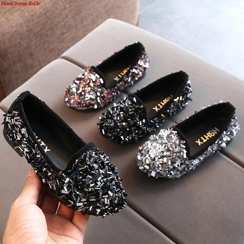 Girls Shoes For Party And Wedding Fashion Sequins Princess Shoes Children Kids Single Casual Shoes For Girls School