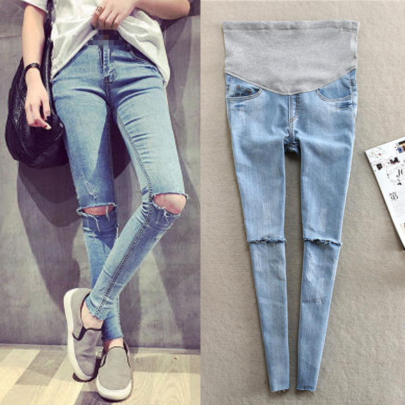 Hole Jeans For Pregnant Women Elastic Waist Hole Stretch Denim Maternity Belly Jeans Pants Pregnancy Belly Pencil Trousers Y693 liva girl spring women low waist sexy knee hole skinny jeans brand fashion pencil pants denim trousers plus size ripped jeans