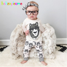 2PCS/0-5Years/Spring Autumn Children Clothing Sets Cartoon Cute White T-shirt+Pants Baby Boys Tracksuit For Kids Clothes BC1394