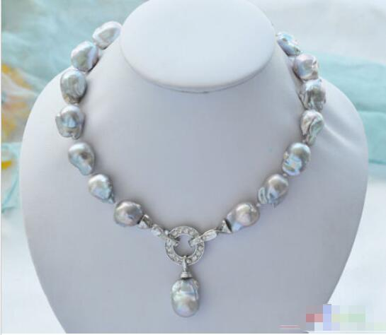 """Hot selling>@@ Hot sale new Style >>>>>Rare 18"""" 18mm gray baroque keshi Reborn necklace pendant -Bride jewelry free shipping"""