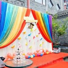 Лидер продаж лед шелковой ткани для маленьких детей Shower партии Декор на день рождения фон Шторы Радуга Свадебные строка фон Шторы