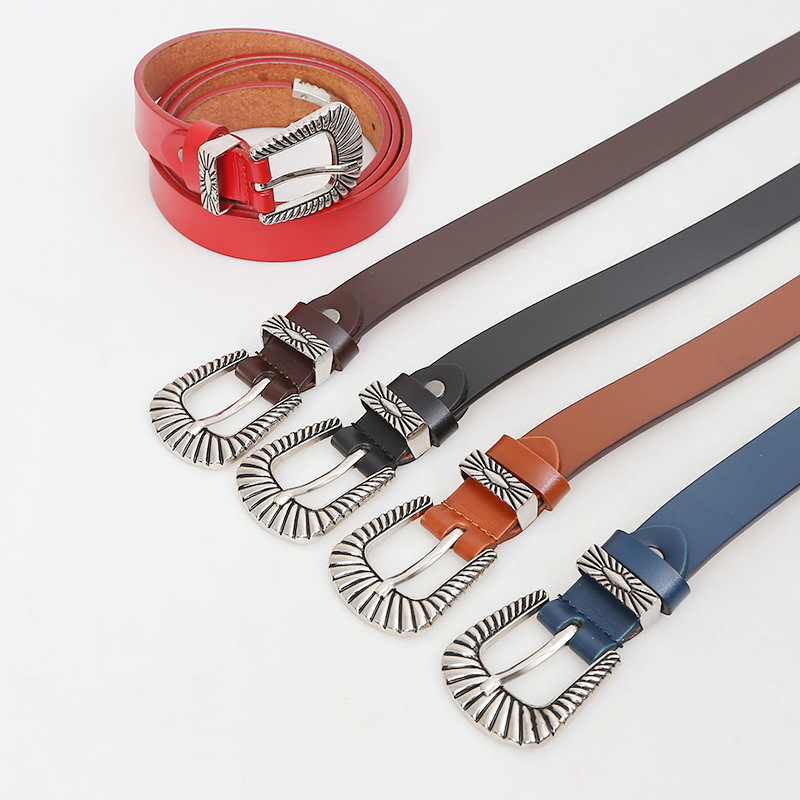 Vintage Retro Carved Metal Wide Double Buckle Belt Adjustable PU Waistband Women Elastic Belt Trendy For Jeans Straps YS149