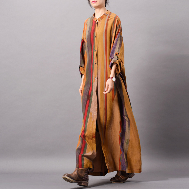 Przycisk sukienka w paski stojak z długim rękawem kobiety tkaniny wiosna wysokiej jakości w stylu Vintage miękkie jedwabna koszula sukienka dla kobiet w Suknie od Odzież damska na  Grupa 2