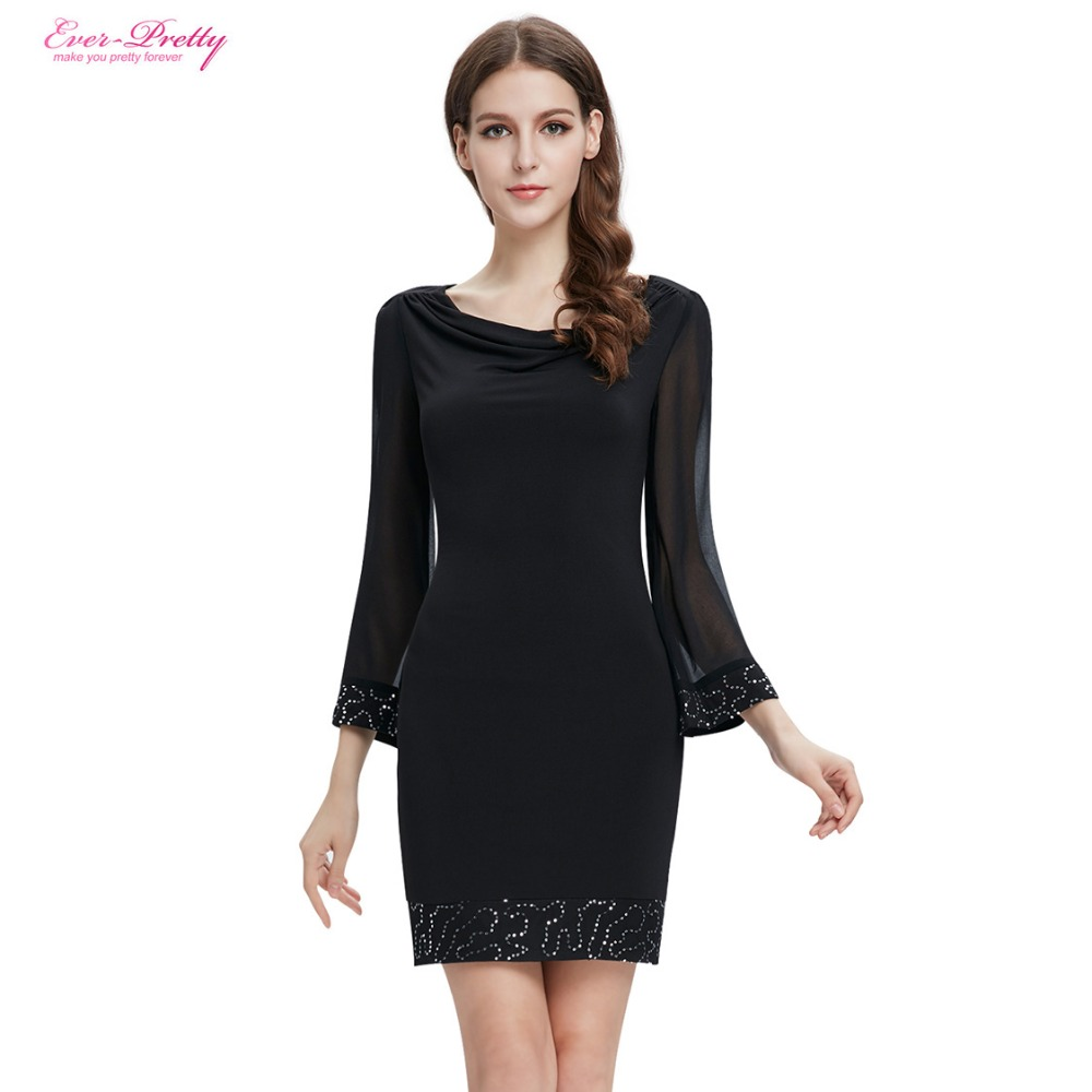 Short Long Sleeve Black Cocktail Dress
