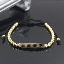 PINIYA Fashion Men Womens Braided 5mm Copper Bead Brand Bracelet Micro Pave CZ Crystal Gold Color Bar Charm Jewelry