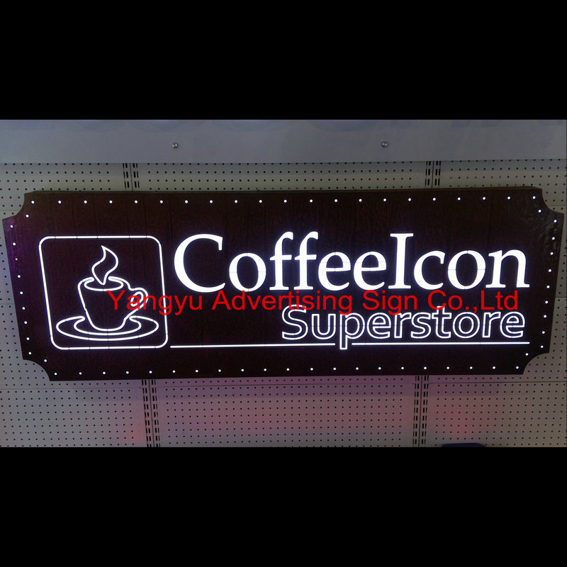 Custom acrylic front lit light box letters office wall sign