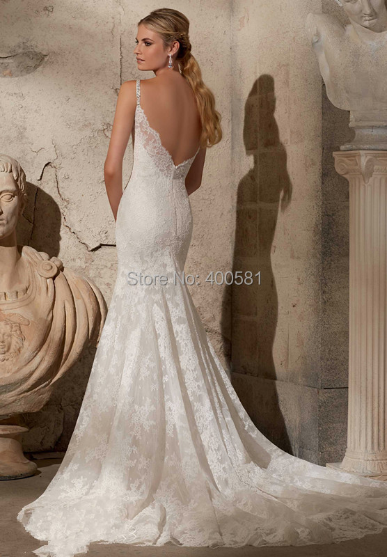 Subtle Mermaid Floor Length Chapel Train V Neck Crystal Beaded Spaghetti Straps Lace On Net Wedding Gown Bridal Dresses In From Weddings