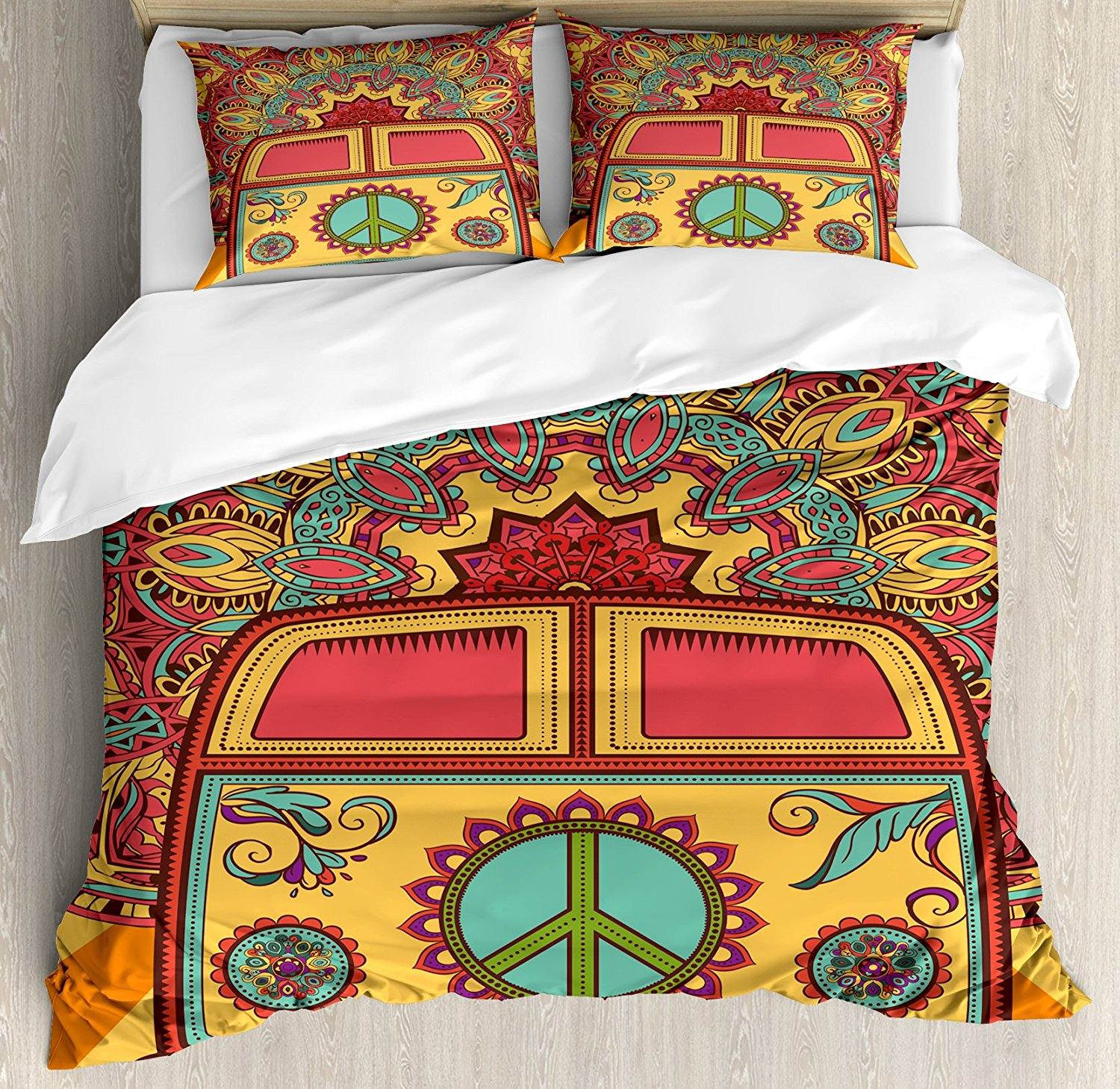 70s Party Decorations Duvet Cover Set Hippie Vintage Mini Van Ornamental Backdrop Peace Sign Decorative 4 Piece Bedding Set - 1