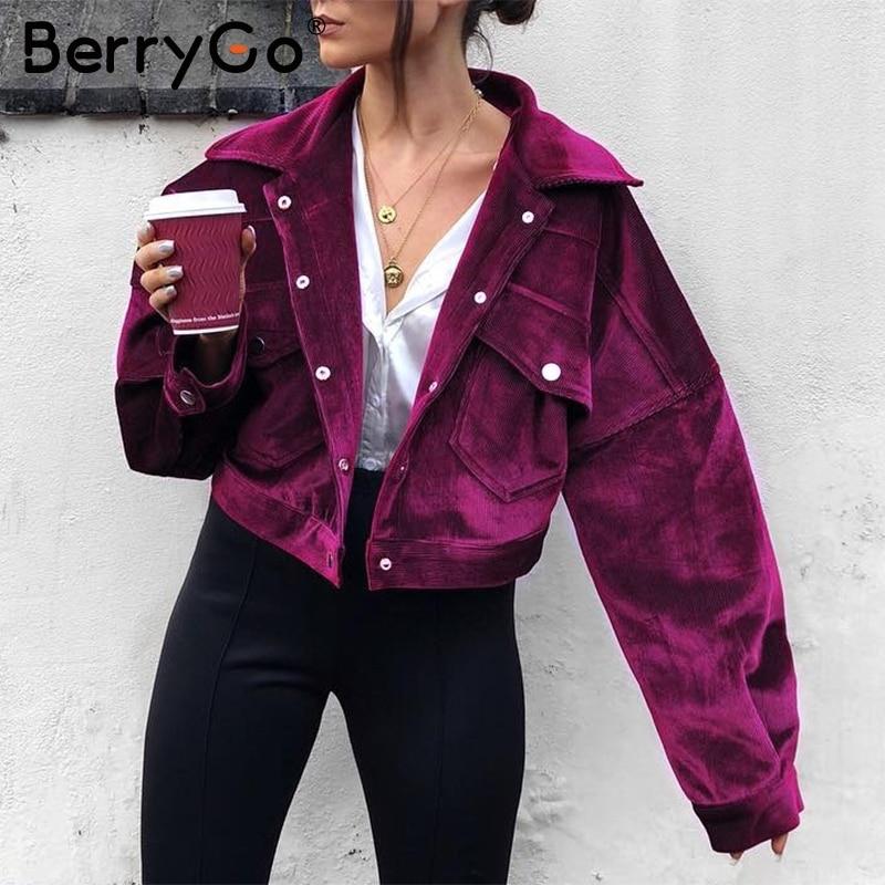 BerryGo Corduroy single breasted autumn jacket Women casual pocket winter outerwear 2018 High street purple jacket coats femme