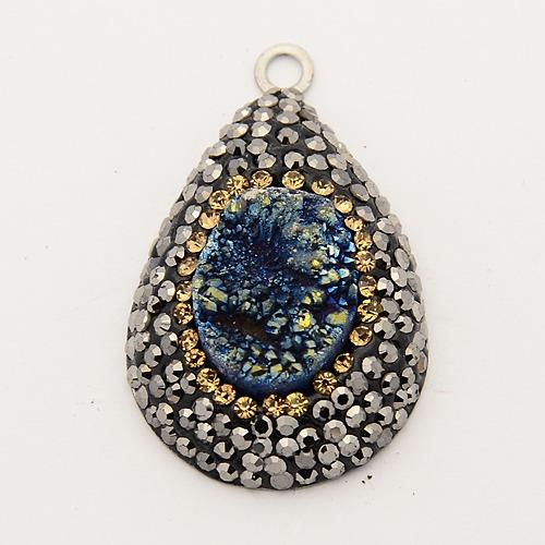 10pcs Natural Electroplate Druzy Crystal Rhinestone Pendants, with 316 Stainless Steel Findings, Drop, Stainless Steel Color