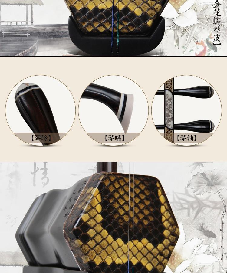 2016Ebony Erhu Musical Instrument Profesionální ruční Erhu patentový produkt