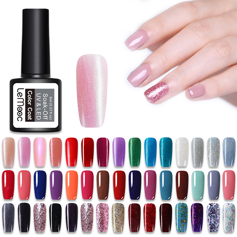 LEMOOC Gel Nail Polish 186 Pure Colors 8ml Soak Off Manicure UV Gel Super Sticky Adhesive Gel for Nail Varnish lacquer nail polish