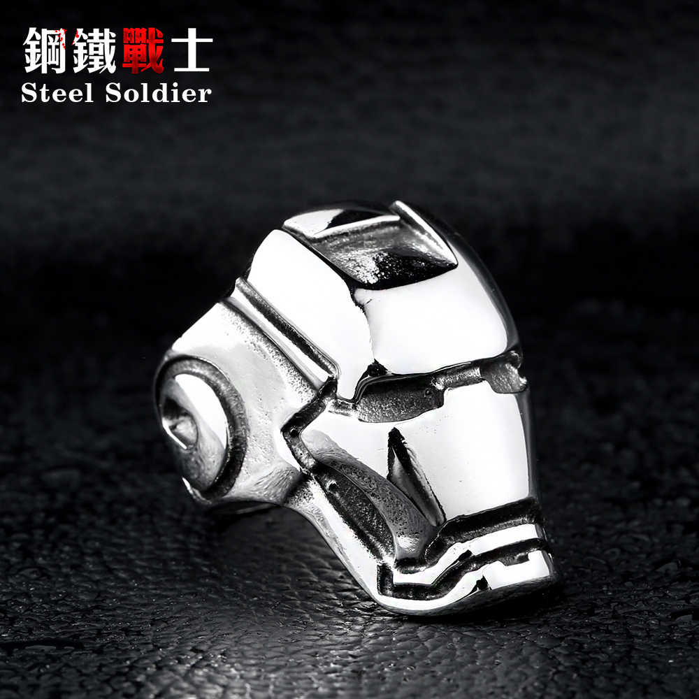 Steel soldier Big Iron Man ring Factory Cheap Titanium Unique Stainless Steel Jewelry Brazil USA popular