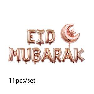 Image 4 - 11ชิ้น/เซ็ตEID MUBARAKฟอยล์บอลลูนRose Gold Silver Letter Moon Moon EidบอลลูนสำหรับมุสลิมEid Partyตกแต่งอุปกรณ์