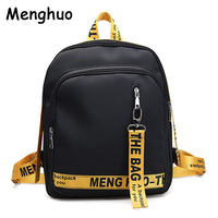 2017 New Letter Ribbon Backpack Nylon Cloth Backpack Leisure College Wind Bag Large Capacity Men And