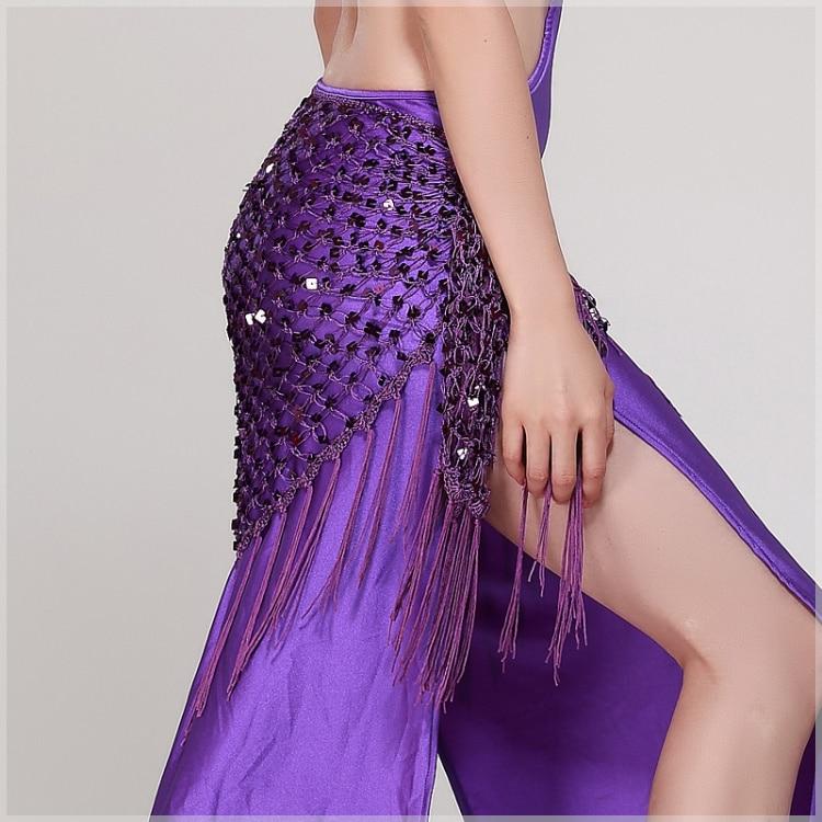 12 Colors Belly Dance Accessories Long Tassel Belt Elastic Triangle Of Hand Crochet Belly Dancing Hip Scarf Sequins Girls Belt