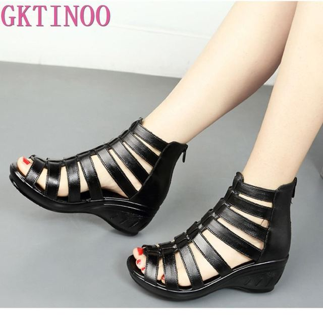 GKTINOO 2019 Summer Genuine Leather Gladiator Sandals Women 5.5cm High Heels Classic Black Peep Toe Hollow Ladies Sandals Wedges
