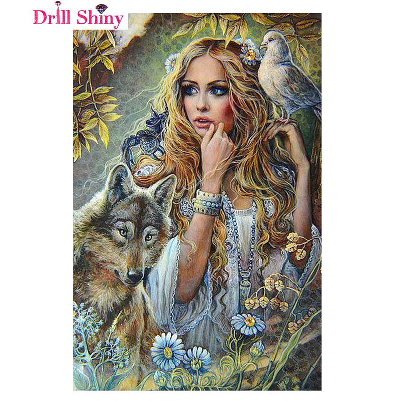 DIY Full Whole Resin Drill Square Canvas Oil Diamond Painting Fantasy Art Woman And The Wolf 5D Dimensional Embroidery Series