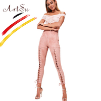 ArtSu High Elastic Waist Skinny Pencil Pants Women Cross Bandage Hollow Out Fitness Leggings Autumn Winter