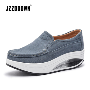 Image 3 - JZZDDOWN Cow Suede Creeper women sneakers platform Plus Size moccasins Shoes Woman Platform Genuine Leather Ladies Female Shoes