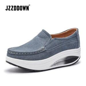 Image 3 - JZZDDOWN Inek Süet Sarmaşık kadın ayakkabı platformu Artı Boyutu mokasen Ayakkabı Kadın Platformu Hakiki Deri Bayan kadın ayakkabısı
