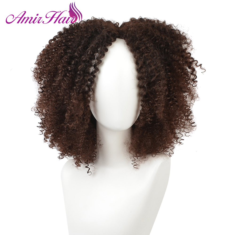 Amir Hair Natural Afro Wig Kinky Curly Wigs For American Women Synthetic hair Dark Brwon color Female Wig
