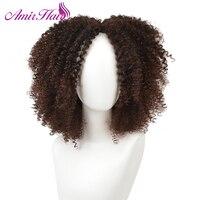 Amir Włosy Naturalne Peruki Afro Perwersyjne Kręcone Peruki Dla Amerykańskich Kobiet włosy Syntetyczne Mroczny Brwon kolor Kobiet Peruka