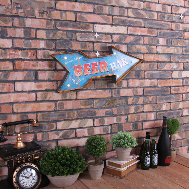 Beer Bar Arrow Neon Sign Decorative Painting Vintage Cafe