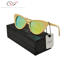 Polarized Gold Wooden font b Sunglasses b font Cat Eye Bamboo Women font b Sunglasses b
