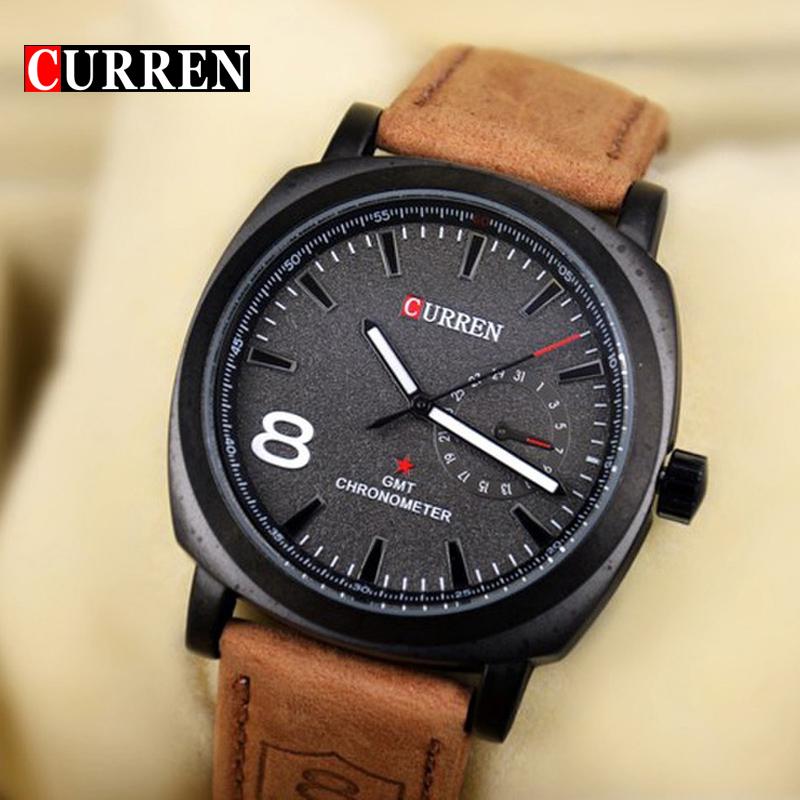 Prix pour D'origine Curren D'affaires Montre À Quartz Hommes Horloge militaire Armée Casual montre-Bracelet en cuir de mode qualité Mâle Relojes hombre
