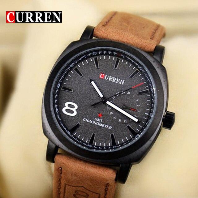 14076ccf918 Original curren relógio de quartzo negócio homens relógio militar do exército  relógio de pulso casual couro