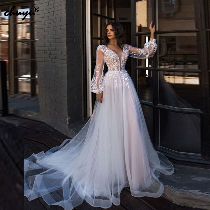 2019 Muslim Wedding Dresses Deep-V Lantern Sleeves Appliques Illusion Abito Da Sposa Boho Dubai Arabic Wedding Gown Bridal Dress