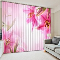 pink curtains lily curtain Flowers print Chinese Customized 3D Blackout Curtains Living Room Bedroom Hotel Window