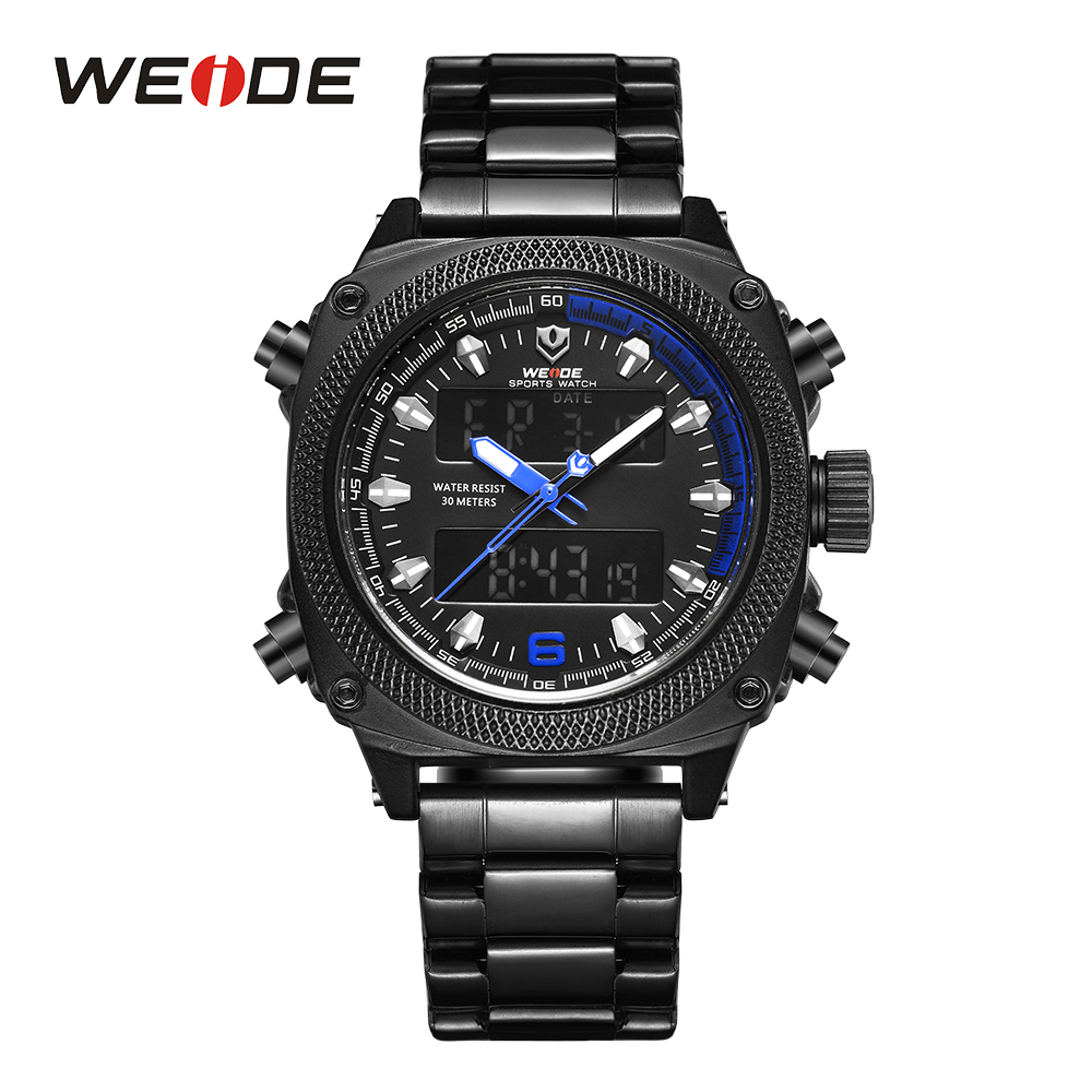 WEIDE Mens Watch Sports Calendar Dual Display Analog Digital Movement Date Hardlex Black Stainless Steel Band Blue Face Watches weide irregular analog led digital watch men quartz dual movement stainless steel bracelet mens waterproof military watches