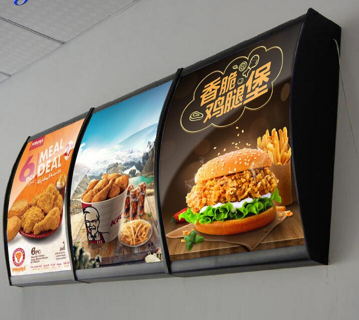 цена на (400mmx500mm size) Curved slim lightboxes , LED fast food restaurant menu board led light box snap frame